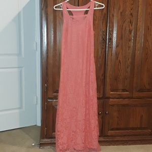 Lace Styled Coral Peach Pink Sun Dress